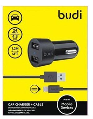 Budi 2 USB Car Charger with USB lighting Cable (24Watt)