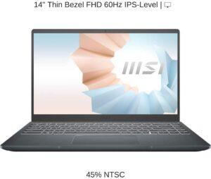 MSI Modern 14 B11SB-084US – 14.0″ FHD IPS Thin Bezel Display, Intel Core i5-1135G7,8GB RAM, 1TB SSD, 2GB NVIDIA GeForce MX450, Windows 10 Pro